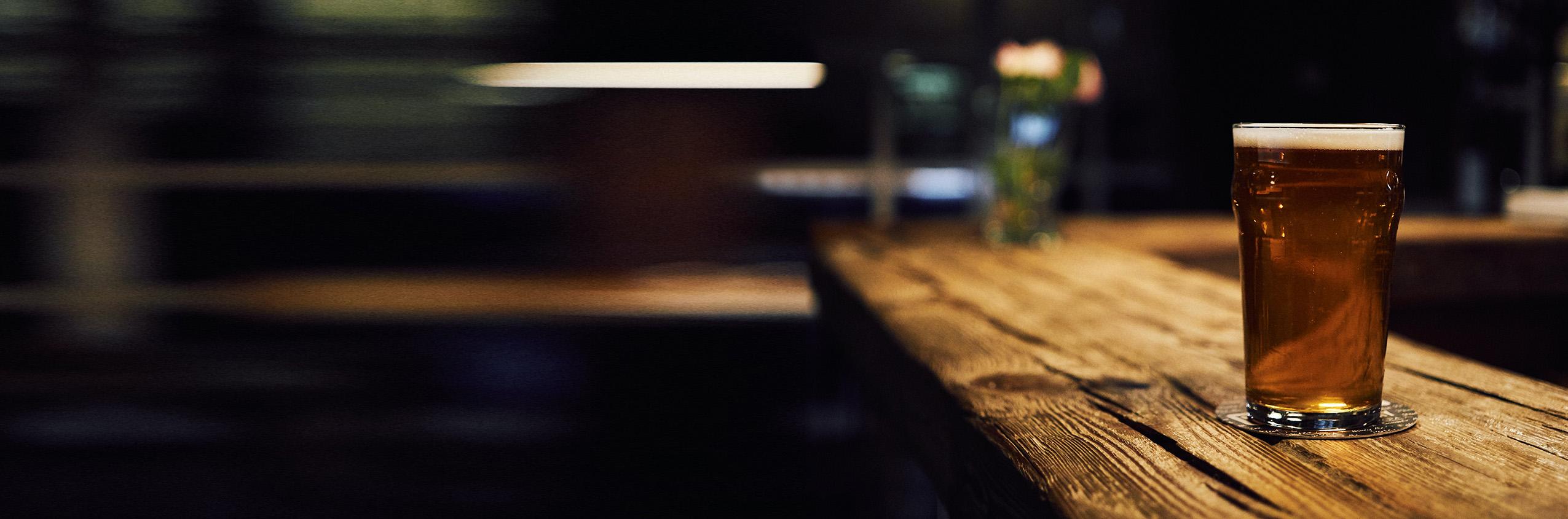 Beer on Rustic Bar