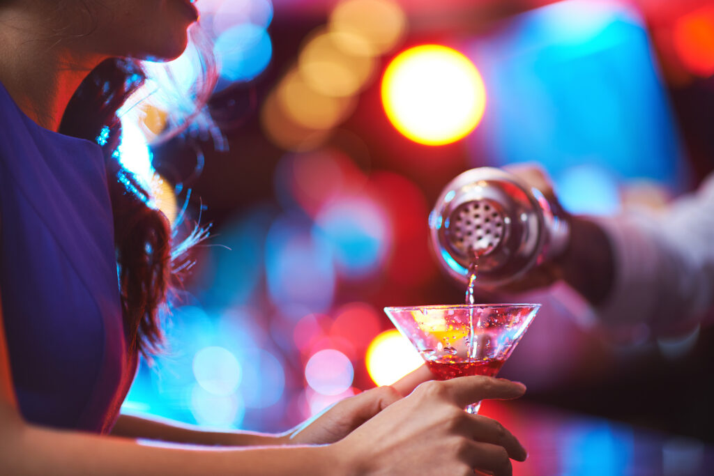 Girl drinking cocktails